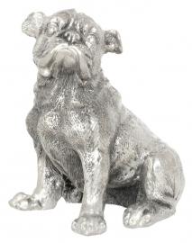 sculptuur Engelse Bulldog zilvertin