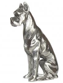 sculptuur Duitse Dog zittend zilvertin