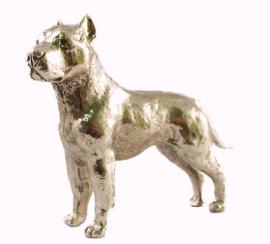sculptuur Staffordshire Terriër zilvertin gecoupeerd