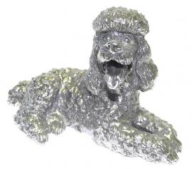 sculptuur Poedel zilvertin 16 cm