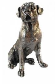 sculptuur Rottweiler zilvertin