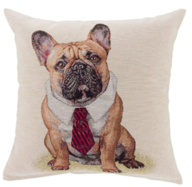 kussenhoes Franse Bulldog beige