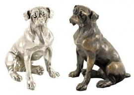 sculptuur Boxer zittend zilvertin