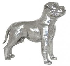 sculptuur Amerikaanse Bulldog zilvertin