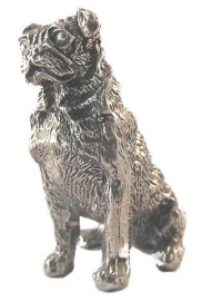 sculptuur Mopshond zilvertin