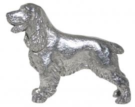 sculptuur Engelse Cocker spaniel zilvertin