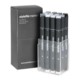 Stylefile Markers Neutral Grey 12 stuks