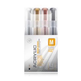Montana Acrylic Marker Set 4st.  Fine Metallic