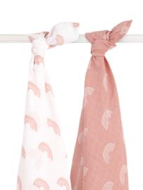 Jollein hydrofiele doek / swaddle Rainbow blush pink 115x115 cm set/2