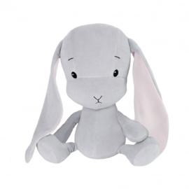 Knuffel konijn grijs met roze oren 20cm