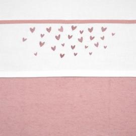 Meyco wieglaken Hearts oud roze