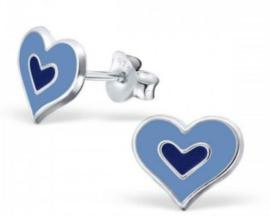 Zilveren kinderoorbellen Hartje blauw - 925 Sterling zilver
