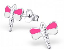 Zilveren kinderoorbellen Libelle roze / wit - 925 Sterling zilver