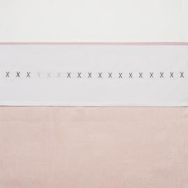 Meyco wieglaken XXX roze en grijs
