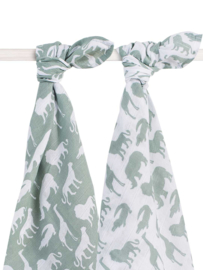 Jollein hydrofiele doek / swaddle Safari forest green 115x115 cm set/2