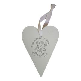 """Houten decoratiehanger hart wit """"A princess is born"""""""
