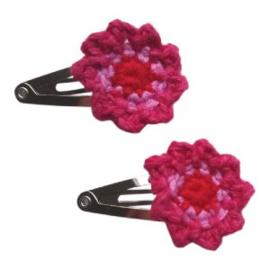 Madeliefke baby haarspeldje met bloem donker roze/roze