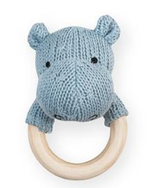 Jollein bijtring rammelaar soft knit Hippo soft blue