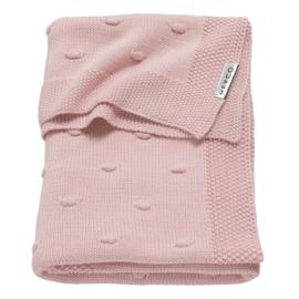 Meyco ledikantdeken gebreid Knots roze