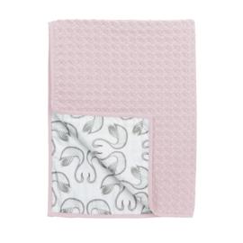 Meyco ledikantdeken wafel/flanel Swan licht roze