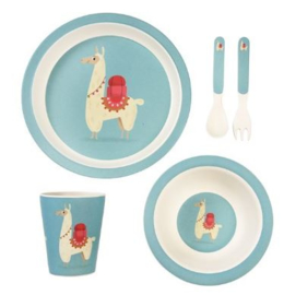 Rex London bamboe kinderservies Dolly Llama 5-delige set