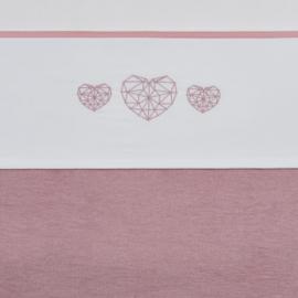Meyco wieglaken Geometric Heart oud roze