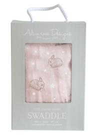 Alimrose swaddle Stars & Bunnies roze 120 x 120 cm