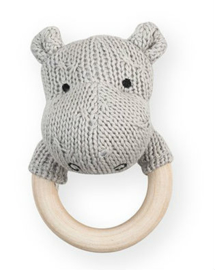 Jollein bijtring rammelaar soft knit Hippo light grey