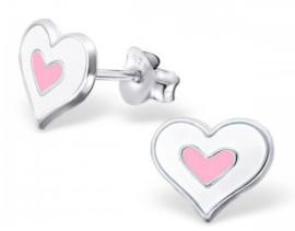 Zilveren kinderoorbellen Hart wit / licht roze - 925 Sterling zilver