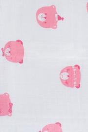 Jollein hydrofiele doek / swaddle Funny Bear pink 115x115 cm set/3