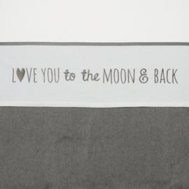 Meyco wieglaken Love you to the moon & back grijs