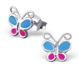 Zilveren kinderoorbellen Vlinder blauw / roze - 925 Sterling zilver