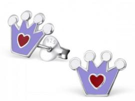 Zilveren kinderoorbellen Kroontje paars - 925 Sterling zilver