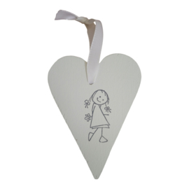 Houten decoratiehanger hart wit meisje