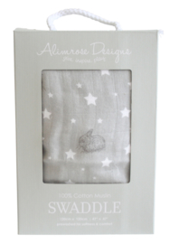 Alimrose swaddle Stars & Bunnies grijs 120 x 120 cm