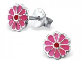 Zilveren kinderoorbellen Bloem roze - 925 Sterling zilver
