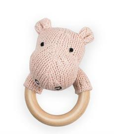 Jollein bijtring rammelaar soft knit Hippo creamy peach