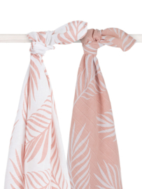 Jollein hydrofiele doek / swaddle Nature pale pink 115x115 cm set/2