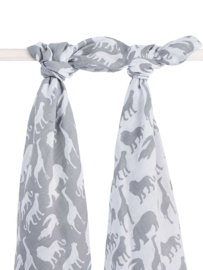 Jollein hydrofiele doek / swaddle Safari stone grey 115x115 cm set/2
