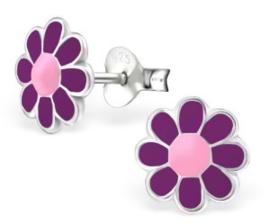 Zilveren kinderoorbellen Bloem paars / roze - 925 Sterling zilver