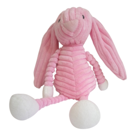 Knuffelkonijn roze ribstof