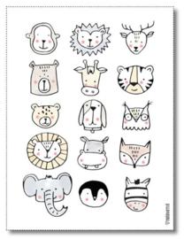 Miekinvorm poster dierenkoppen 30x40 cm