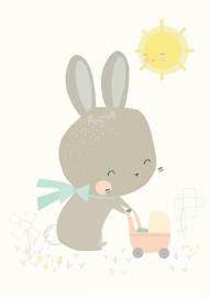 Petite Louise poster A4 Konijn met poppenwagen
