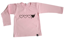Babystyling baby shirt / longsleeve roze Hartjes