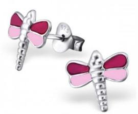 Zilveren kinderoorbellen Libelle donker roze / licht roze  - 925 Sterling zilver