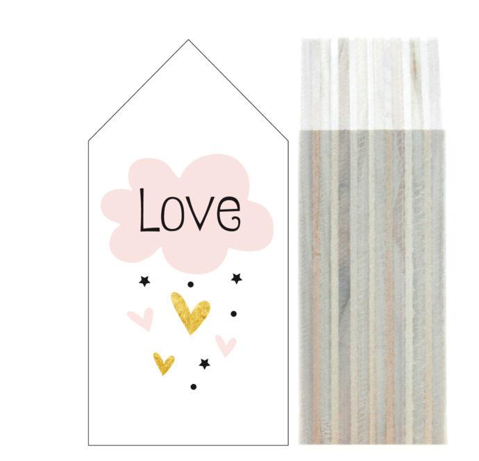 """Dots Lifestyle houten huisje """"Love, Cloud & Hearts"""" LARGE"""