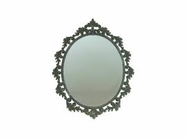 Spiegel met krul-bladmotief sierlijst