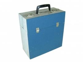Vintage platenkoffer grijs-blauw
