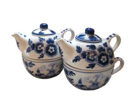 """Tea-for-one theepotjes """"Delfts Blauw"""" - Set van 2"""