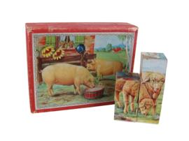 Nostalgische blokpuzzel boerderijdieren